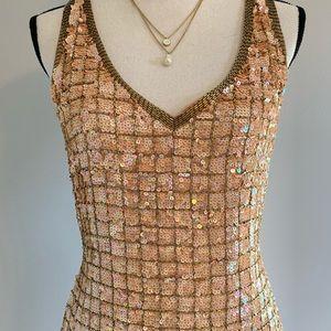 Dresses & Skirts - Sequin Minidress, Sleeveless Vneck Cocktail Dress